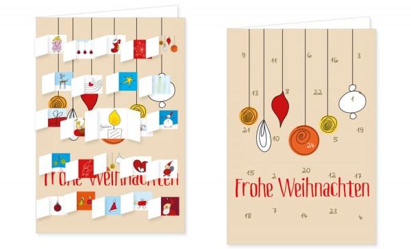 Adventskalenderdoppelkarte 'Schmucke Kugeln'
