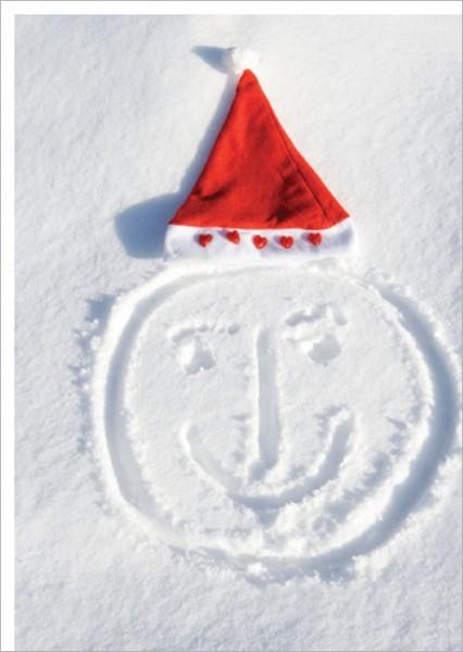 """Postkarte X-Mas """"Weihnachtsmütze im Schnee"""""""
