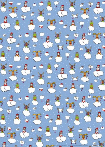 """X-mas Geschenkpapier """"Elch mit Weihnachtsschmuck"""""""