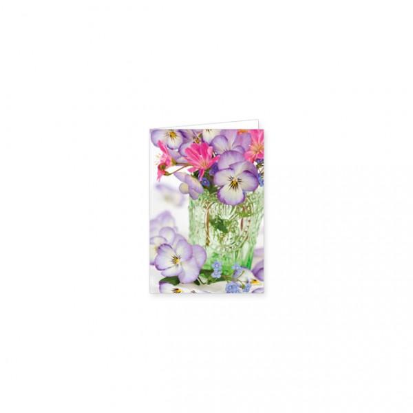 """Mini-Doppelkarte """"Frühlingsstrauß in grüner Vase"""""""