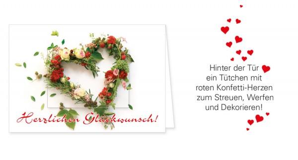 """Türchenkarte """"Glückwunsch mit Blumenherz"""""""