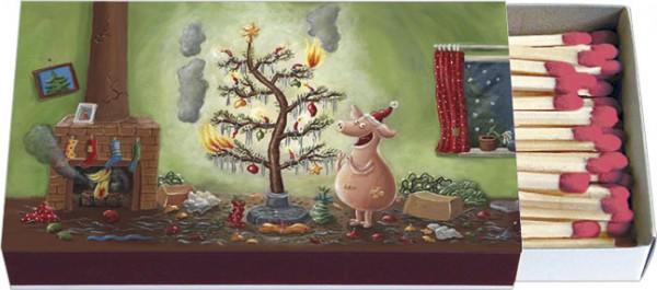 Zündholzschachteln Weihnachten 'Weihnachten mit dem Chaos-Schwein'