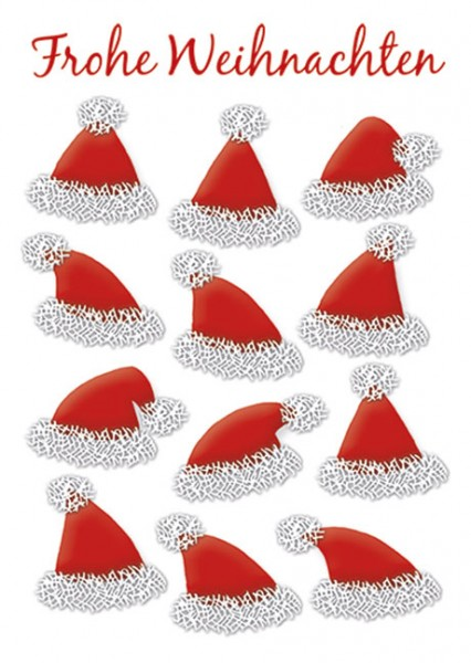 """Postkarte X-Mas """"Rote Weihnachtsmützen"""""""
