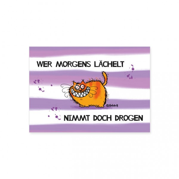 "Postkarte ""Catzz - Wer morgens lächelt"""
