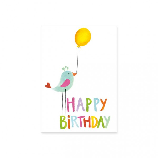 "Postkarte ""Happy Birthday mit Vogel"""
