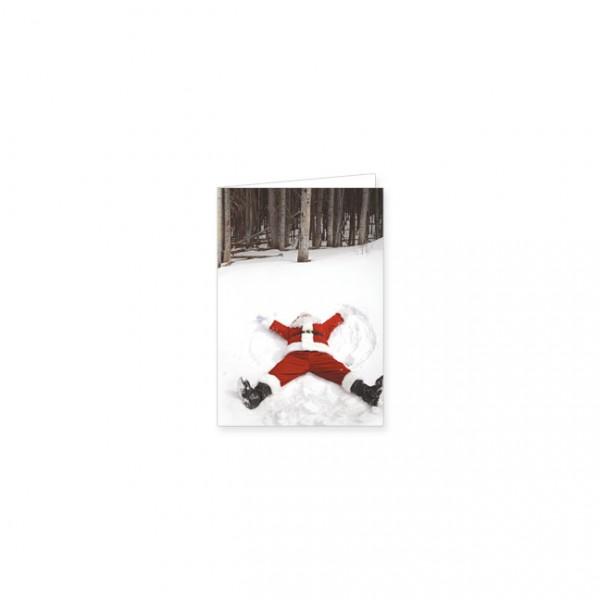 """Mini-Doppelkarte X-Mas """"Weihnachtsmann im Neuschnee"""""""