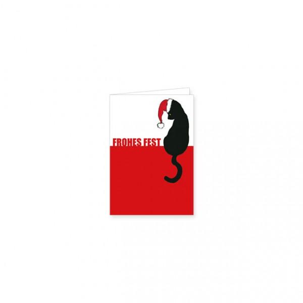 """Mini-Doppelkarte X-Mas """"Schwarze Katze """"Frohes Fest"""""""""""