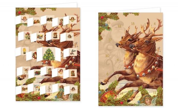 Adventskalenderdoppelkarte 'Schlittenflug'