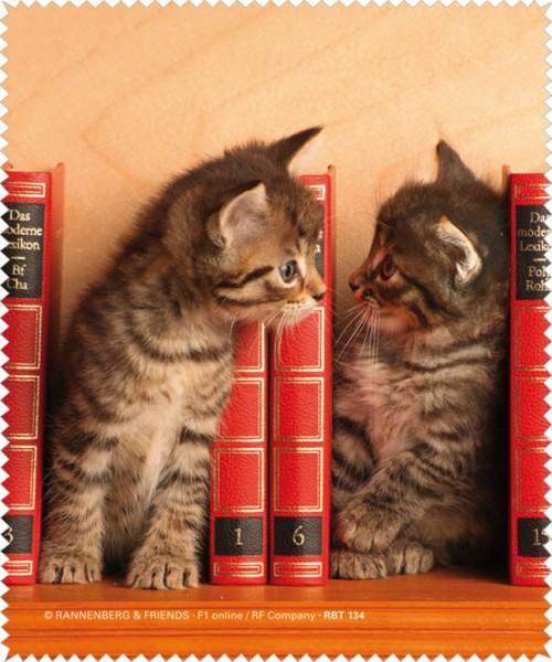 """Brillenputztuch """"Kätzchen im Bücherregal"""""""