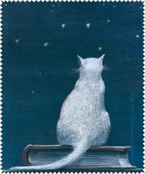 Brillenputztuch 'Katze auf Buch'