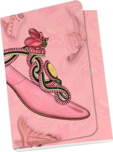 Taschennotizblöckchen 'Historische Schuhe - rosa Pumps'