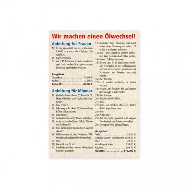 """Postkarte """"Ölwechsel"""""""