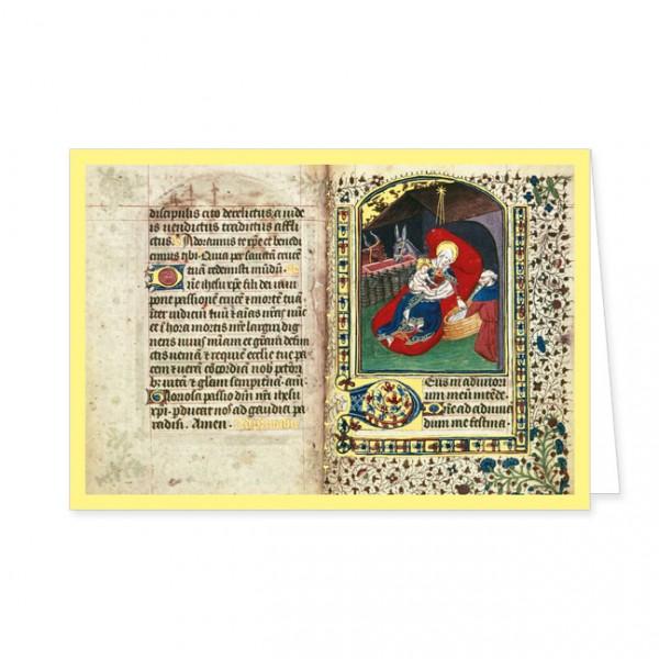 "Doppelkarte Gold ""Die Geburt Christi aus ""Salisbury Book of Hours"""""