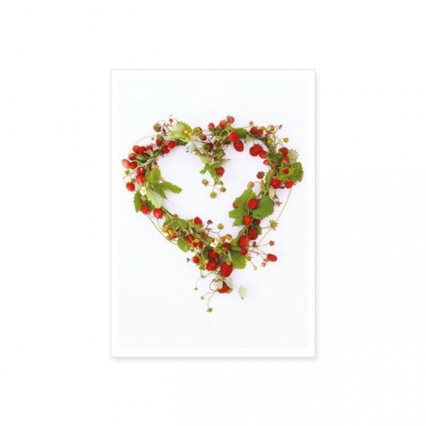 """Postkarte """"Herz aus Erdbeeren"""""""