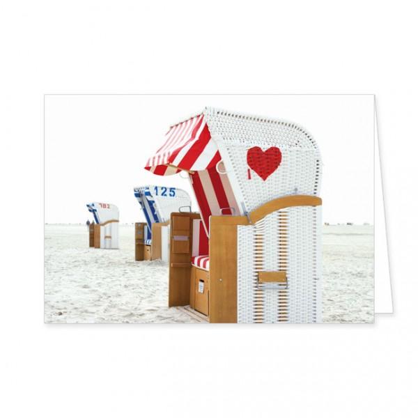 """Doppelkarten """"Strandkorb mit rotem Herz"""""""