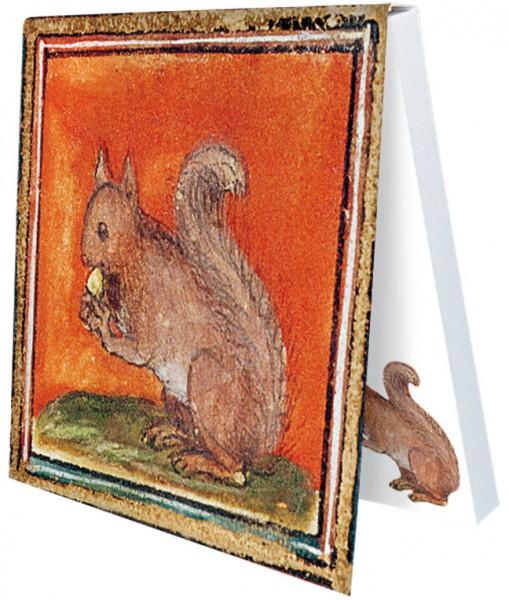 Klebezettel 'Eichhörnchen aus dem Bestiarium' aus Le Livre des Proprietes des Choses