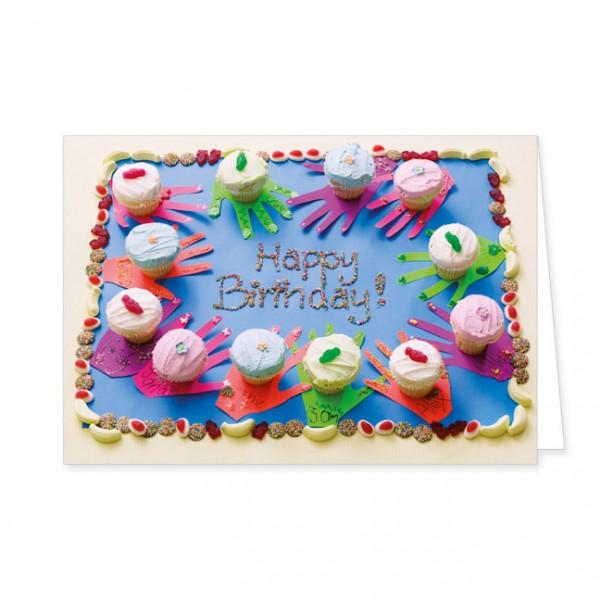 """Doppelkarten """"Geburtstagstorte mit Cupcakes"""""""