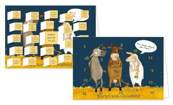 Adventskalenderdoppelkarte 'Warten aufs Christkind'