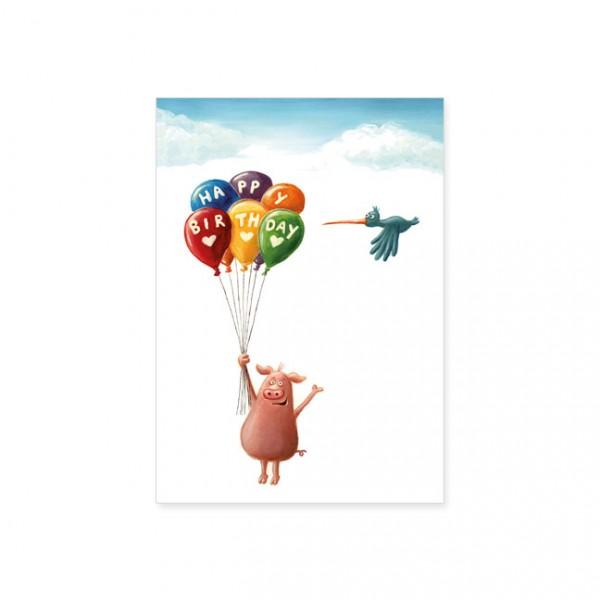 "Postkarte ""Happy Birthday Ballons"""
