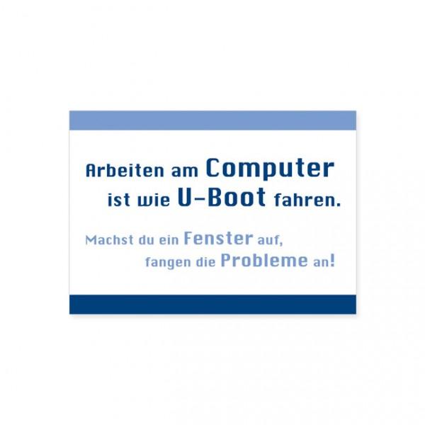 """Postkarte """"Arbeiten am Computer"""""""
