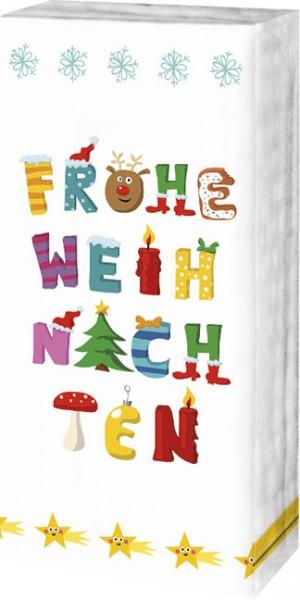 """X - Mas Taschentücher """"Frohe Weihnachten"""""""