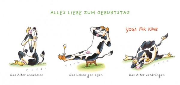 """XXL-Postkarte """"Yoga für Kühe – Geburtstag"""""""