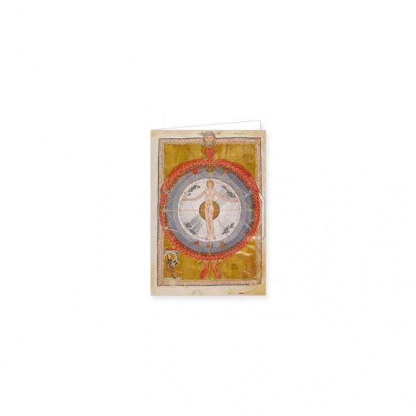 """Mini-Doppelkarten Gold """"Hildegard von Bingen und Mann im Zentrum des Universums"""""""