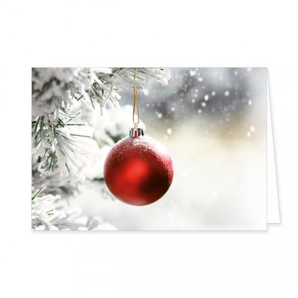 "Doppelkarte X-Mas ""Rote Weihnachtskugel"""