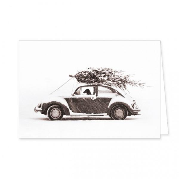 """Doppelkarte """"Autofahrt mit Weihnachtsbaum"""""""