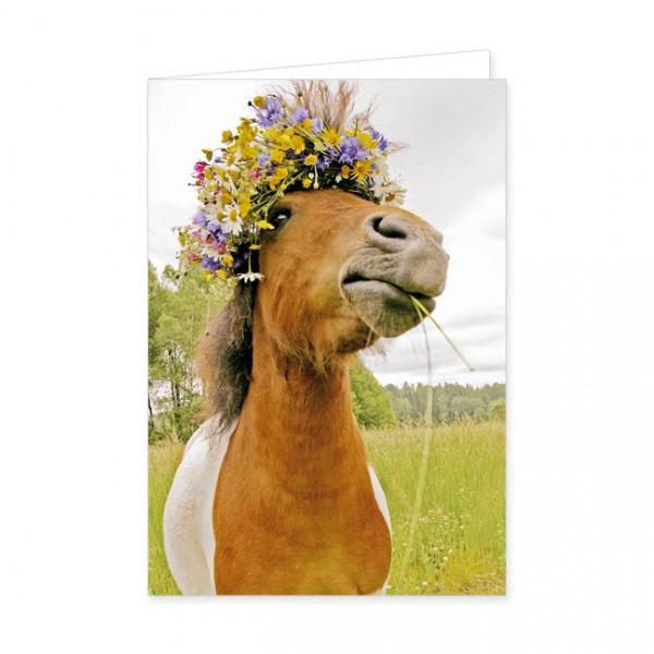 "Doppelkarte ""Pferd mit Blütenkranz"""