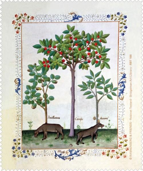 Brillenputztuch 'Haselnussbusch und Kirschbaum'