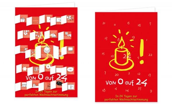 Adventskalenderdoppelkarte 'Von 0 auf 24' von Jutta Wetzel