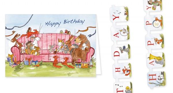"""Türchenkarte """"Tilda – Happy Birthday Sofa"""""""