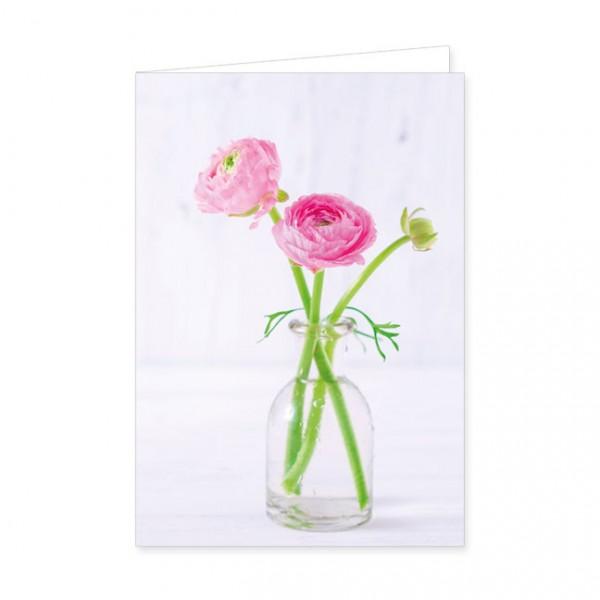 """Doppelkarte """" Rosa Ranunkeln in einer Glasvase """""""