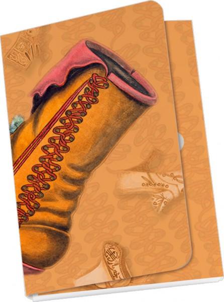 Taschennotizblöckchen 'Historische Schuhe - Stiefelette mit Pompons'