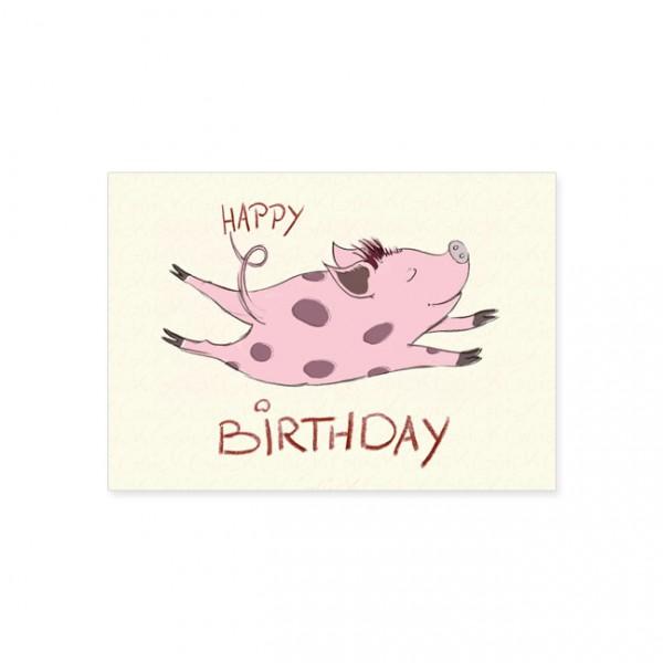 "Postkarte ""Happy Birthday Schweinchen"""