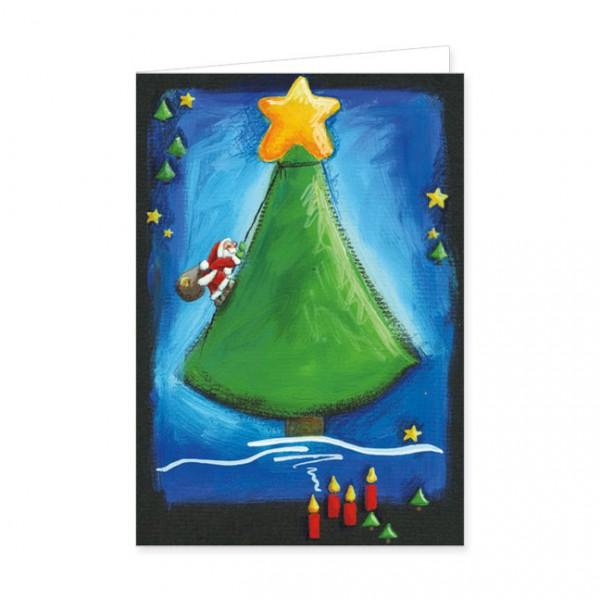 """Doppelkarten X-Mas """"Weihnachstbaum und Weihnachtsmann"""""""