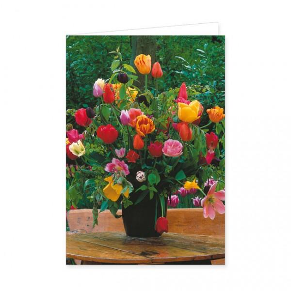 """Doppelkarte """"Tulpenstrauß im Garten"""""""