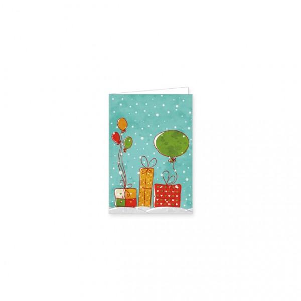 """Mini-Doppelkarte """"Geschenke und Luftballons"""""""