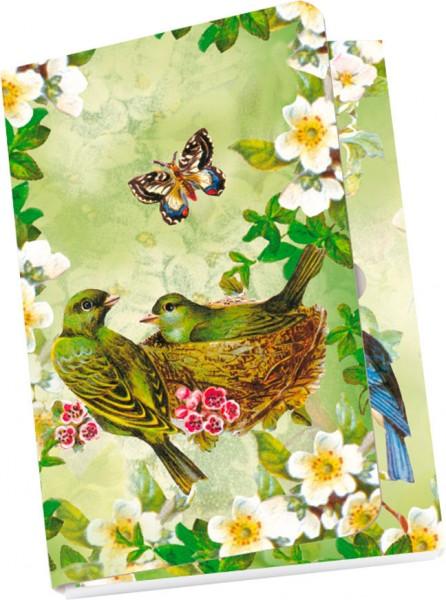 Taschennotizblöckchen 'Nostalgische Vögel'