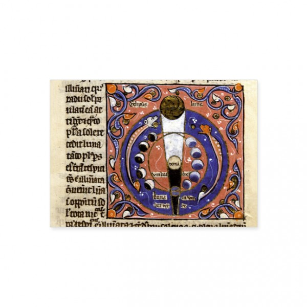 """Postkarte Gold """"Eklipse und Phasen des Mondes"""""""