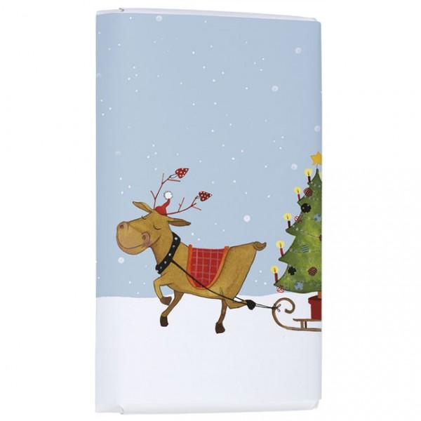 Schokoladentäfelchen Weihnachten 'Rentier mit Tannenbaum hoch' von Katja Jäger
