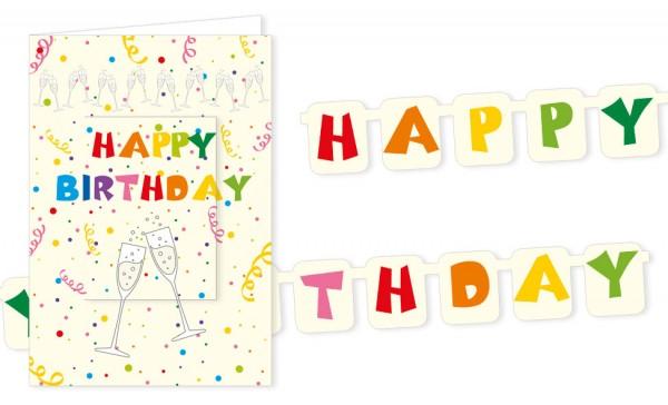 """Türchenkarte """"Happy Birthday Sektkelche"""""""