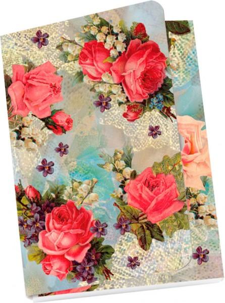 Taschennotizblöckchen 'Nostalgische Blumengrüße'