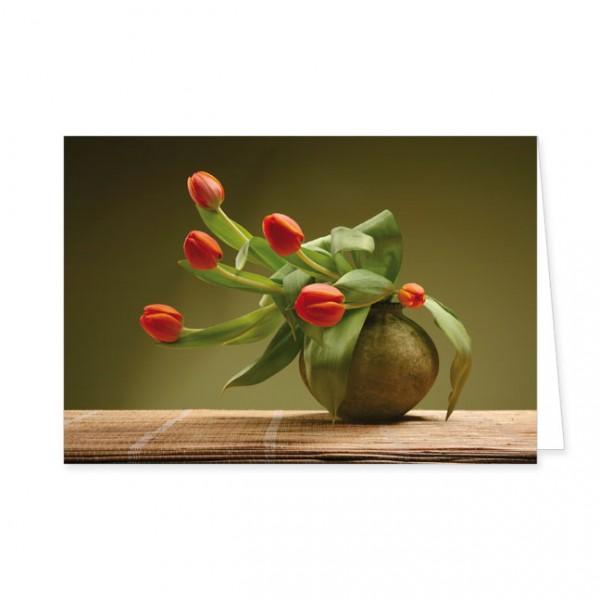 "Doppelkarte ""Rote Tulpen in einer Kugelvase"""
