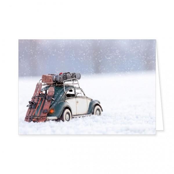 """Doppelkarte """"Käfer im Schnee"""""""