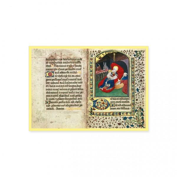 "Postkarte Gold ""Die Geburt Christi aus ""Salisbury Book of Hours"""""