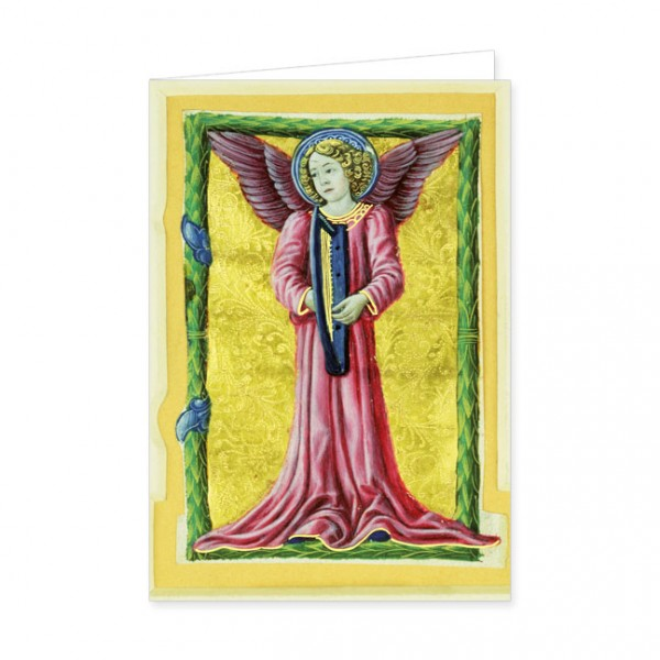 "Doppelkarte Gold ""Harfe spielender Engel"""