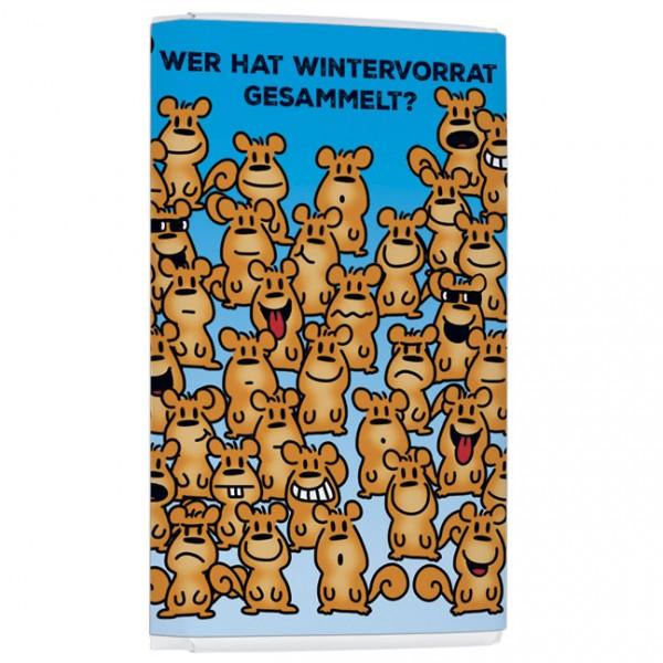 Schokoladentäfelchen 'Für's Hirn Wintervorrat' von Alexander Holzach