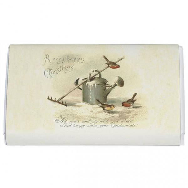 Schokoladentäfelchen Weihnachten 'Rotkehlchen mit Gießkanne'